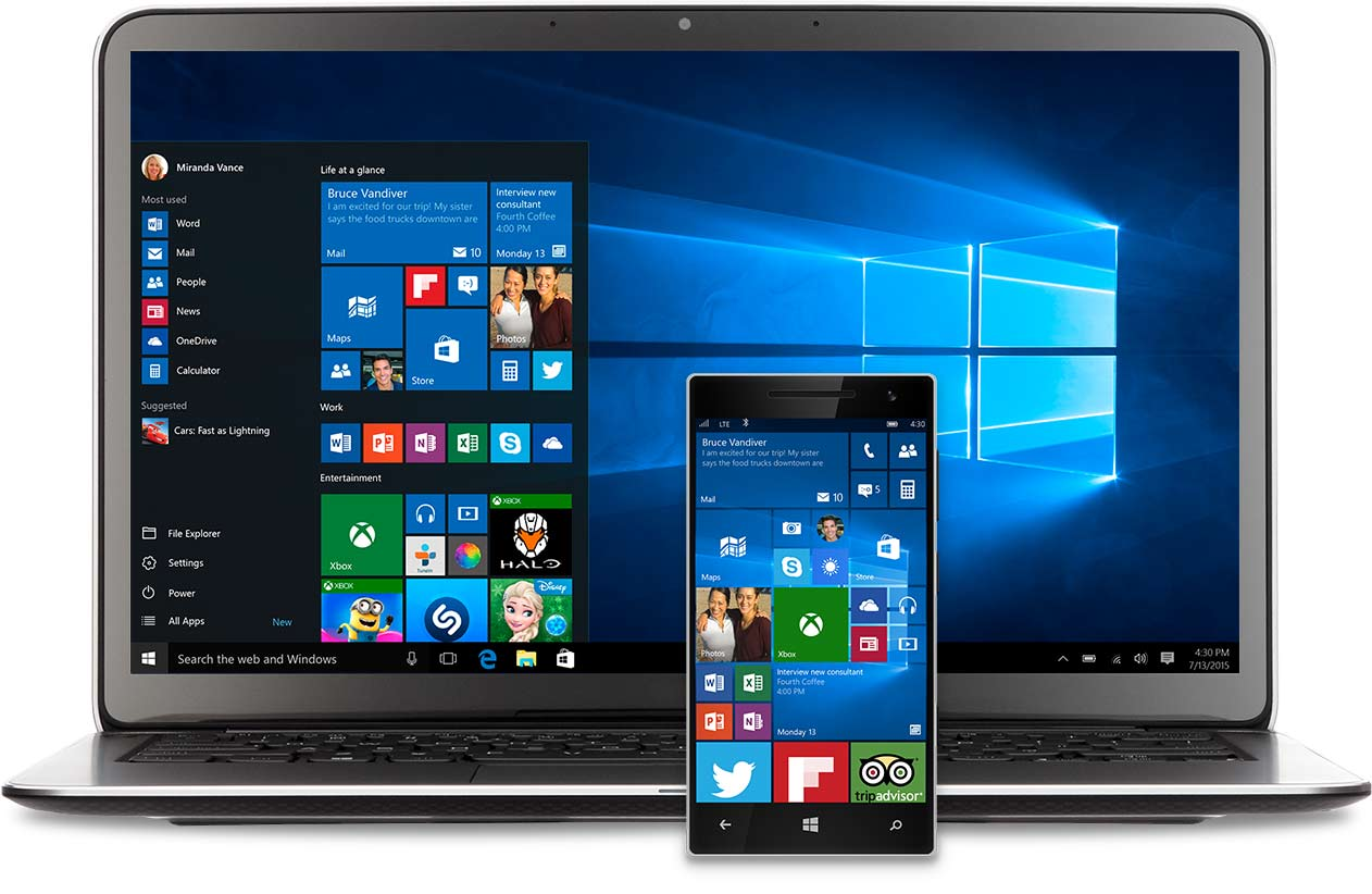 Laptop e telefono con il menu Start di Windows 10