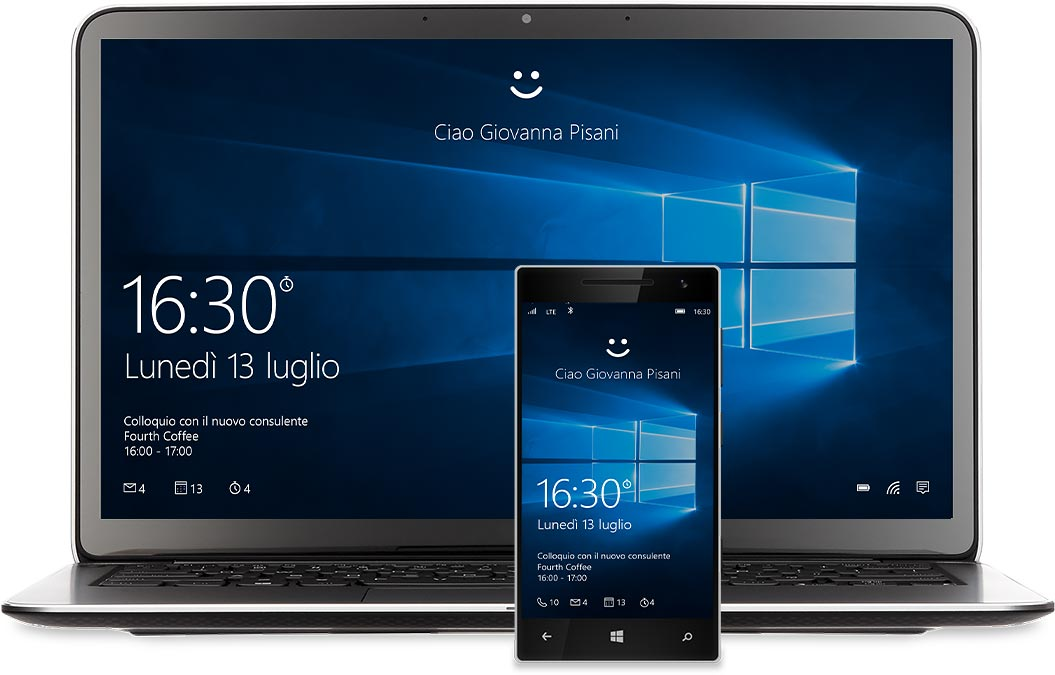 Laptop e telefono Windows con Cortana sugli schermi