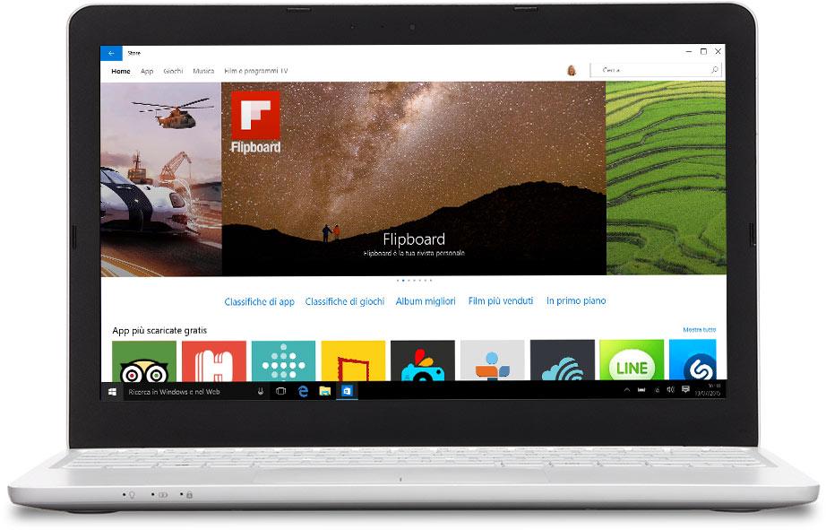Laptop con il Windows Store sullo schermo